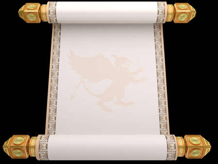scroll paper: The old manuscript a roll on a gold basis isolated on a white background Stock Photo