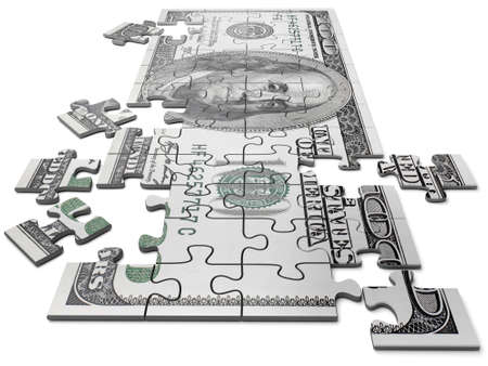 Puzzle in the form of currency of the USA of dollar in cost hundred Stock Photo