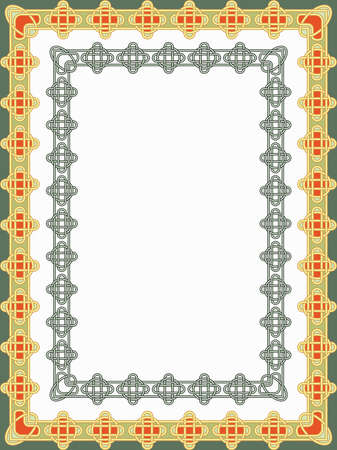 celtic culture: Background with a frame in the form of celtic patterns in a vector Illustration