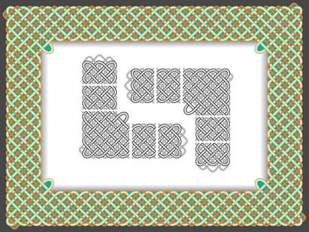 Background with a frame in the form of Celtic patterns in a vector Stock Vector - 9685741