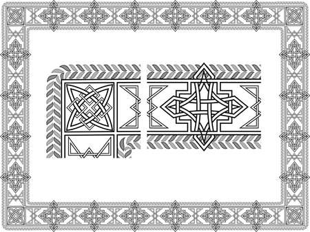 Background with a frame in the form of Celtic patterns in a vector Vector