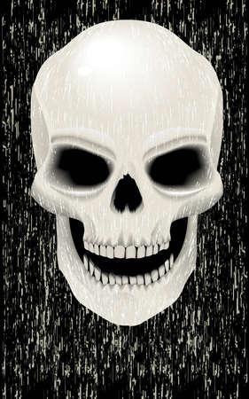 jaw: Human skull zombie- style grunge Illustration