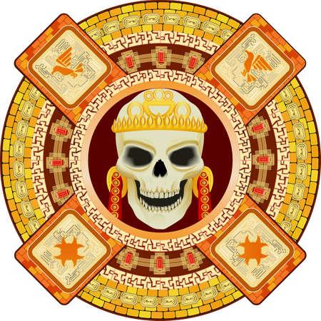 Skull the god of death of Aztecs stylization