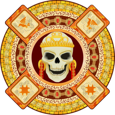 skull and crown: Skull the god of death of Aztecs stylization