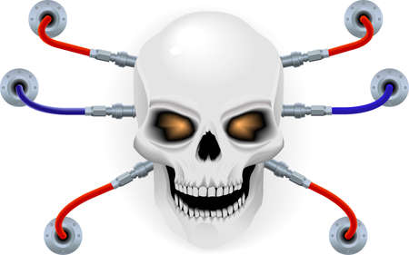 Skull the biorobot in style of a techno Stock Vector - 9786469