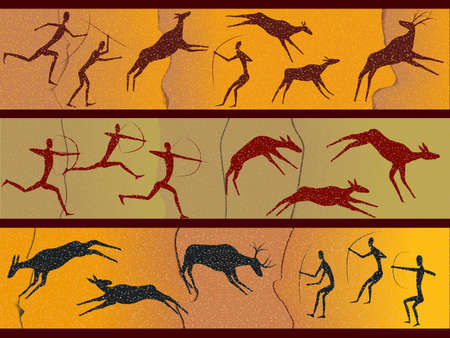 hunters: Cave figures of primitive people in a vector