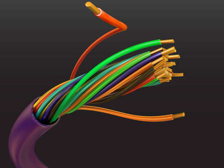 cables: Electric cable from a copper wire in a vector