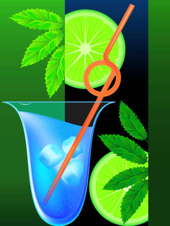 freshening: Cocktail  mint a lemon and an ice in a vector Illustration