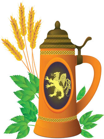 barley hop: Beer mug on a background of leaves of hop and ears of barley in a vector Illustration