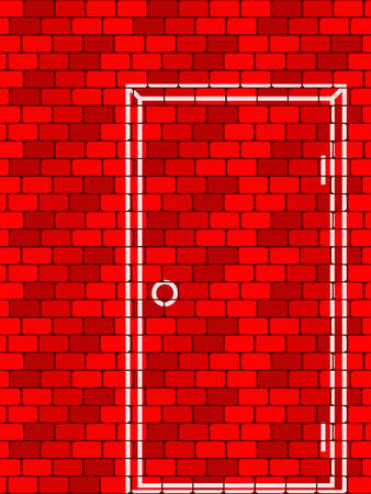 bricklaying: Background from a bricklaying with the drawn door in a vector
