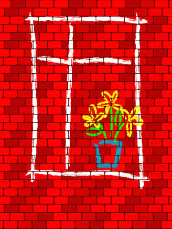 bricklaying: Background from a bricklaying with the image of a window in a vector Illustration