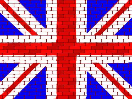 drapeau angleterre: Contexte d'un drapeau de l'Angleterre sur un mur de brique dans un vecteur