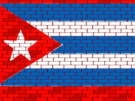 bricklaying: Background a flag of Cuba on a brick wall in a vector