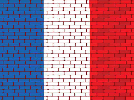 bricklaying: Background a flag of France on a brick wall in a vector
