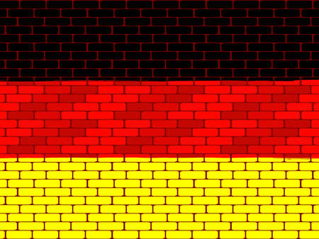 bricklaying: Background a flag of Germany on a brick wall in a vector Illustration