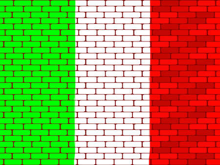 bricklaying: Background a flag of Italy on a brick wall in a vector Illustration