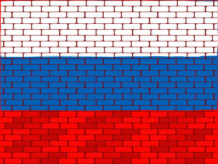 Background a flag of Russia on a brick wall in a vector Vector