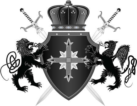 griffin: Medieval board - the arms with a griffin and a lion in a vector
