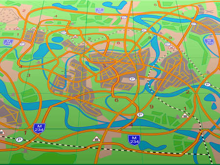 geographical: Geographical map conditional city Illustration
