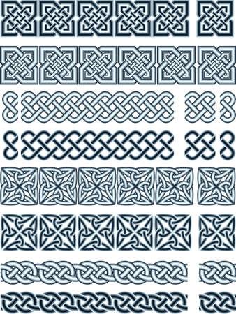 national border: Elements of design in Celtic style  Illustration