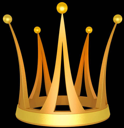 Gold crown the princess isolated on a black background Stock Photo
