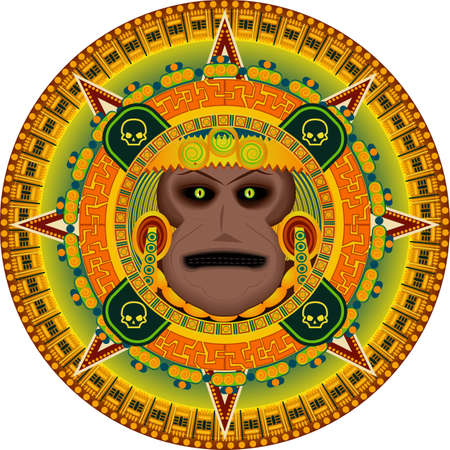 worship god: The ancient god of people the aztec in a vector