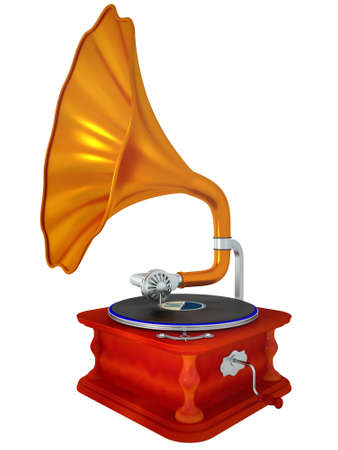 antiquarian: Ancient antiquarian gramophone Isolated on a white background Stock Photo