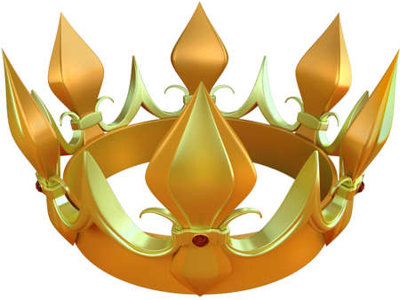 king and queen: Royal gold crown isolated on a white background Stock Photo