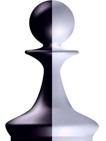 chess pawn: Black and white chess figure a pawn