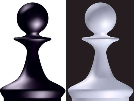 weakest: Black and white chess figure a pawn