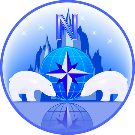 north star: Emblem of North Pole with polar bears in a vector