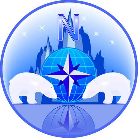 Emblema della Polo Nord con gli orsi polari in un vettore