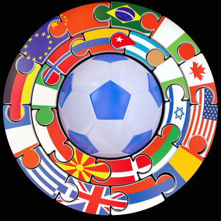 Football and set of flags a symbol of competitions Stock Photo - 10832358