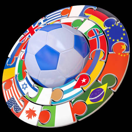 Football and set of flags a symbol of competitions Stock Photo - 10832356