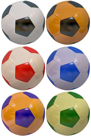 Set of multi-coloured footballs isolated on a white background Stock Photo - 11031881