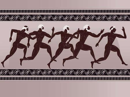 grec antique: Ancien personnage grec - les coureurs sportifs dans un vecteur