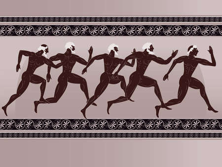 ancient greek: Ancient Greek figure - sportsmen runners in a vector