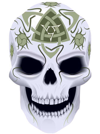 evil: Skull a symbol of death with celtic a tattoo in a vector