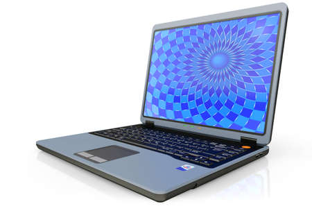 technological: Portable computer laptop c a background on the screen