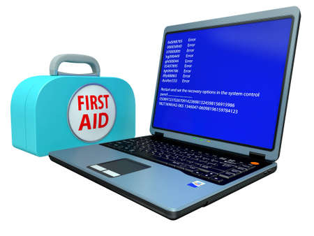 Faulty Computer with system error and the first-aid set isolated on a white background