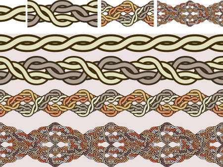 interlacing: Celtic national ornaments of weaving in a illustration for brushes Illustration