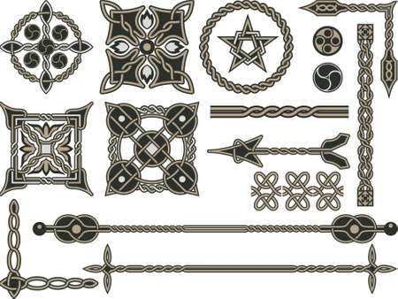 medieval: Celtic traditional elements for design in a illustration