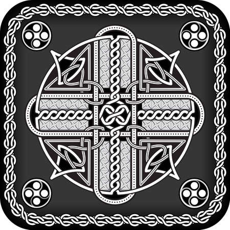 The button in celtic style with a traditional cross in a illustration Illustration