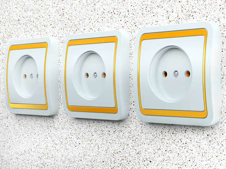 wall socket: The electric socket for connection on a concrete wall