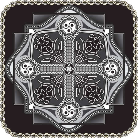 The button in celtic style with a traditional cross in a vector Vector