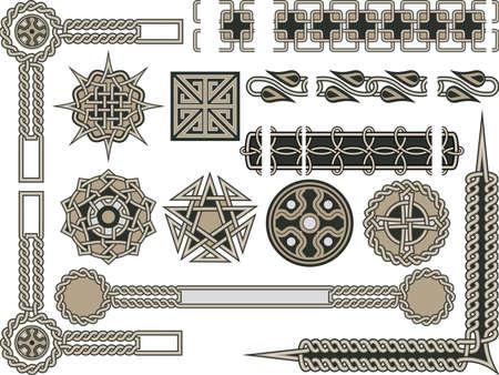 celtica: Elementi celtici tradizionali per il design in un vettore