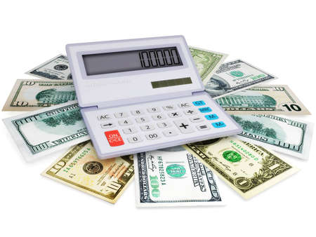 The electronic calculator and cashes in 3d Stock Photo - 12970887