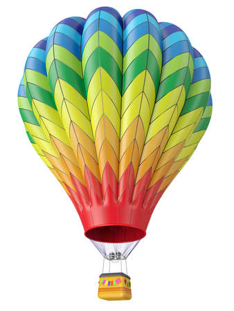 aeronautics: Multi-colored balloon for flight in air isolated 3d Stock Photo