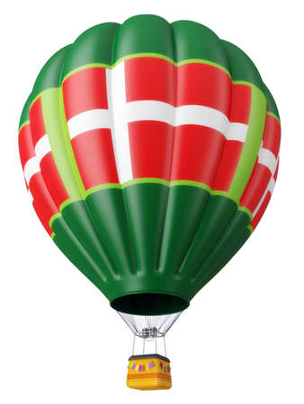 aeronautics: Multi-colored balloon for flight in air isolated 3d Stock Photo
