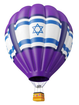 flag of israel: Multi-colored balloon for flight in air isolated 3d Stock Photo
